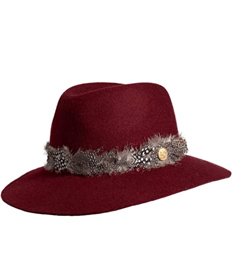 8e660c5bfa37 Holland Cooper Women s Grayson Trilby Hat with Feather Band Purple  Amazon. co.uk  Clothing