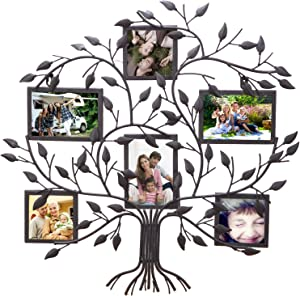 Asense Black Metal Family Tree Wall Hanging Decorative Collage Picture Photo Poster Frame, 6 Openings, 4x6 4x4