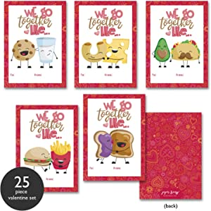 Paper Frenzy Food Themed We Go Together Like Valentine Cards - 25 Pack
