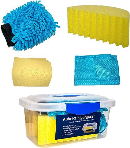 Auto de Kit de limpieza, 5 piezas (Caja Incluye, chenilla esponja de lavado Guante, microfibra, toalla de poliuretano)   Juego de cuidado de para coche y moto auto Ropa: Amazon.es: Coche y
