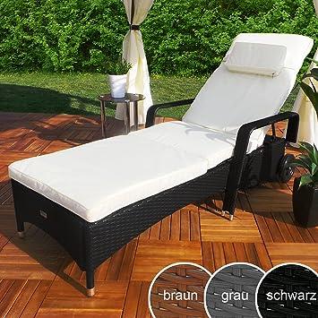 Elegant Rattan Garten Liege Relax Polyrattan Gartenliege Rattanmöbel Liegestuhl  Sonnenliege (Schwarz)