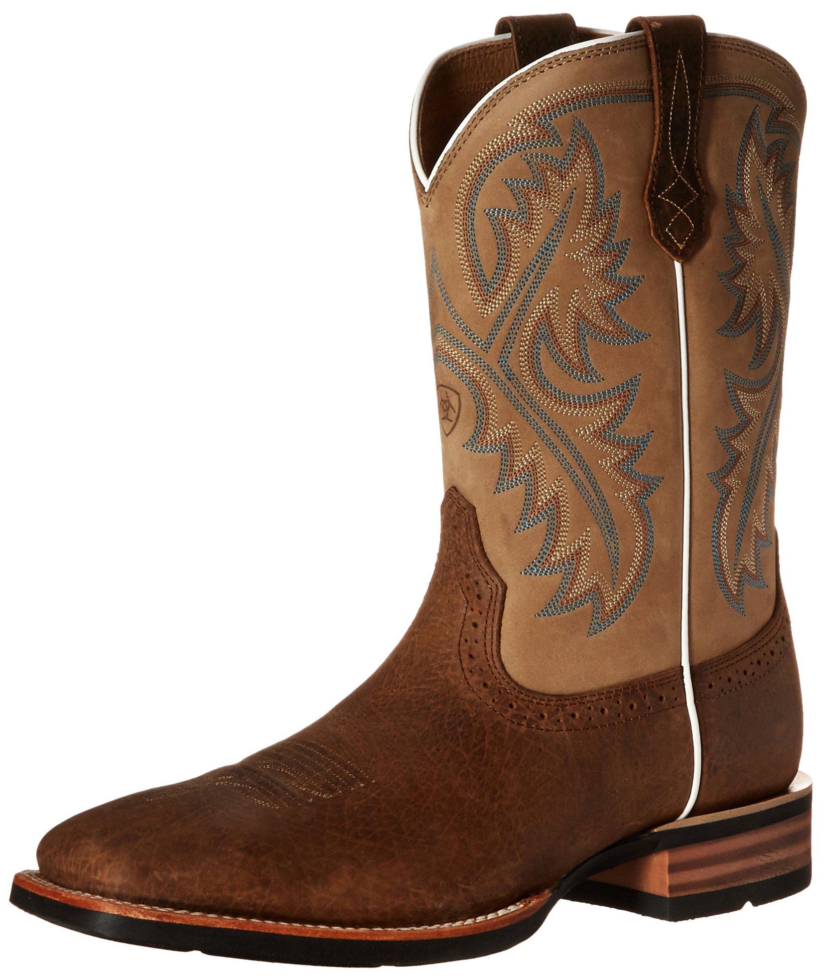 Ariat Men's Quickdraw Western Boot, Tumbled Bark/Beige, 10.5 D US