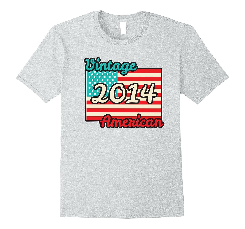 Retro Vintage 2014 American Flag 3 Yrs Old Birthday T-shirt-BN