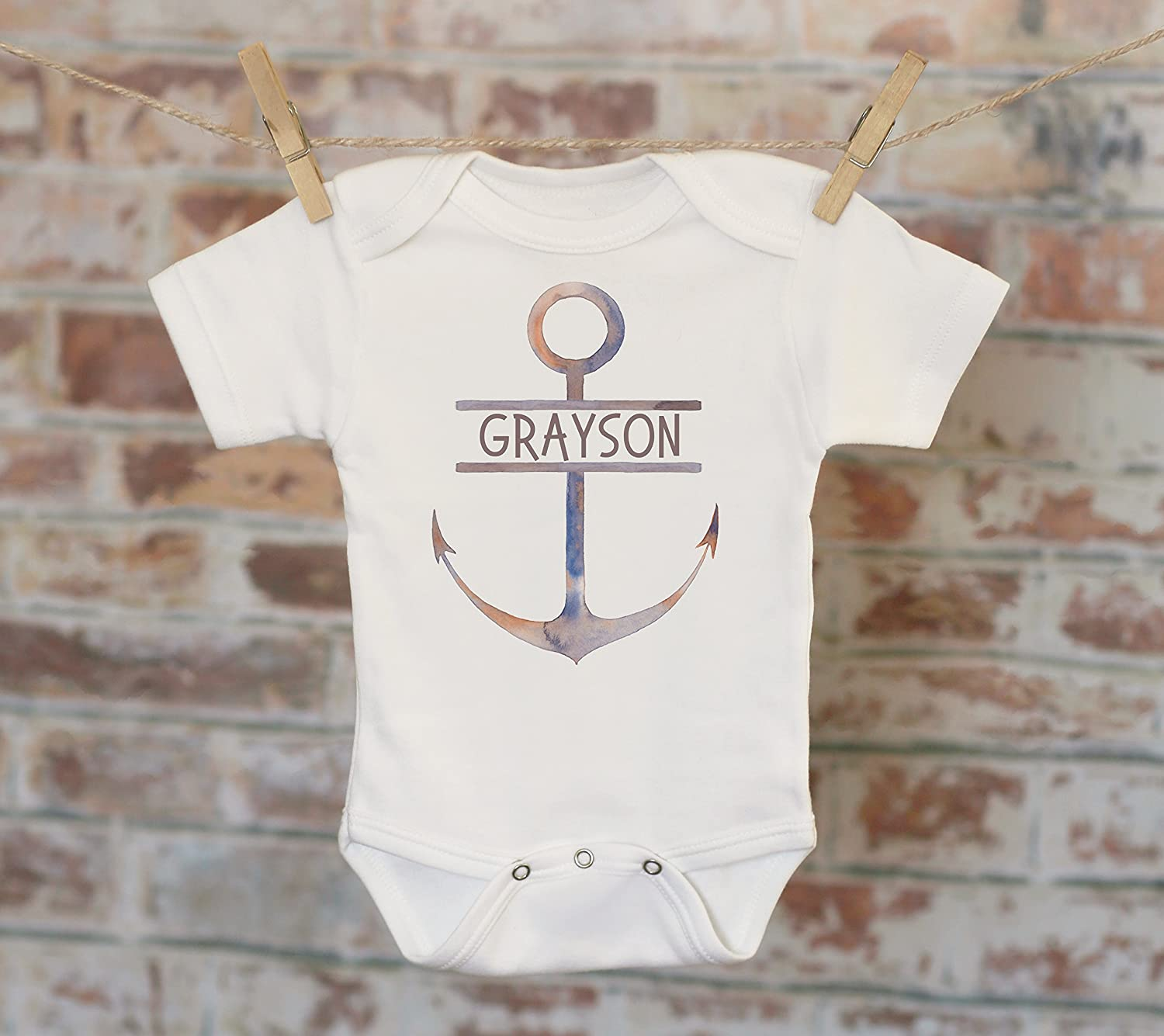 Nautical Boys Personalized Onesie®, Custom Baby Onesie, Cute Boy Outfit, Boy Name Onesie, Nautical Theme, Baby Shower Gift
