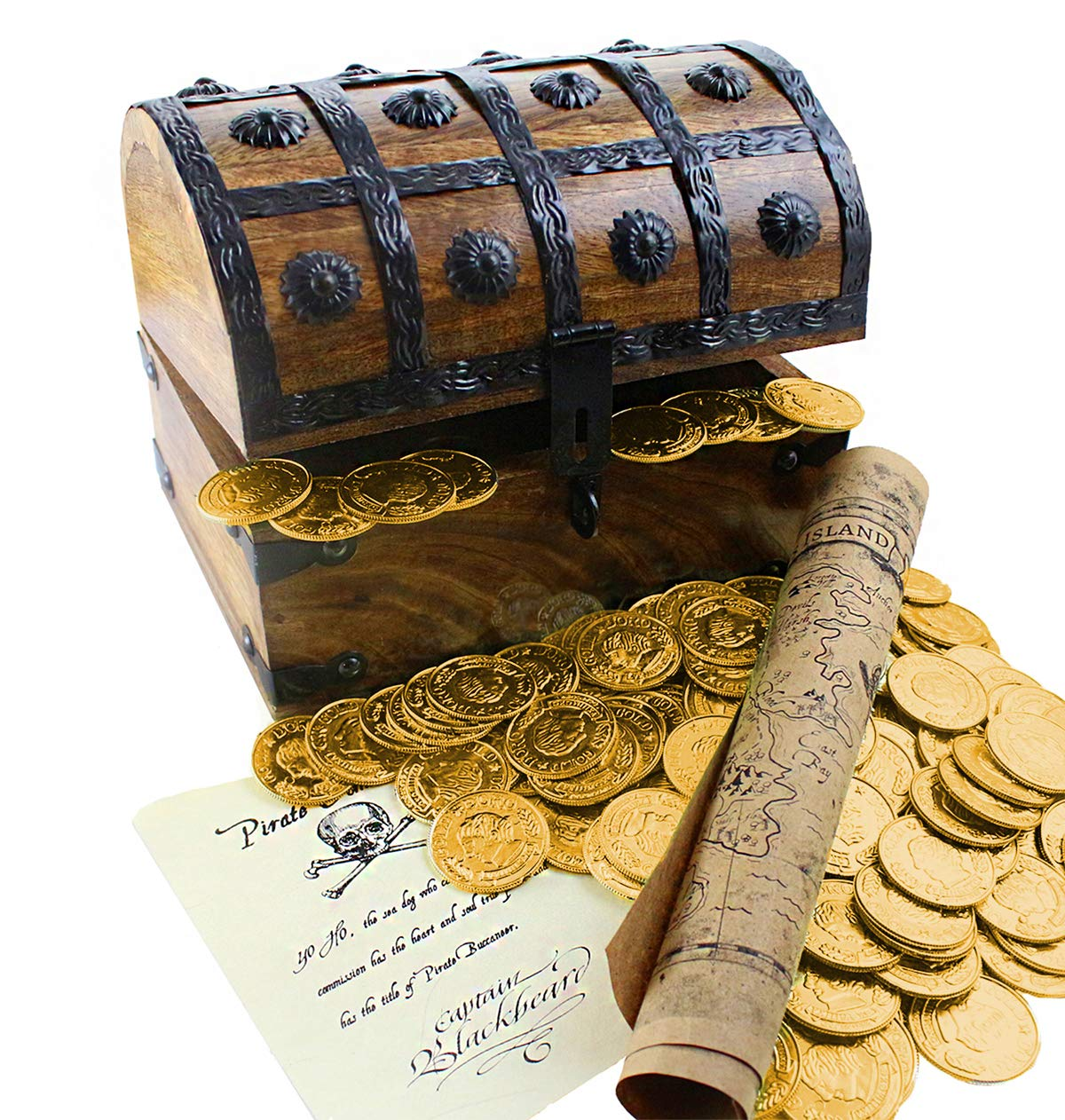 Well Pack Box Large Wooden Pirate Treasure Chest 144 Plastic Gold Coins Map Commission 8''x6''x6''