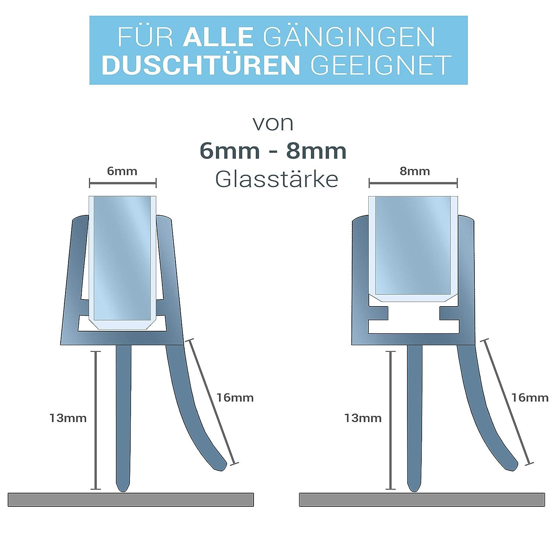 Langlebige Duschkabinen Gummilippe Einfach zuschneidbarer Schwallschutz 7mm und 8mm Glast/ür Balder 2 x 100cm Universal Premium Duschdichtung Doppelpack - Ideale Dichtung f/ür 6mm