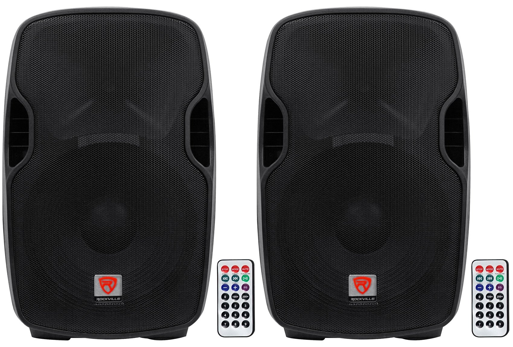 (2) Rockville BPA15 15'' Active DJ/PA Speakers Totaling 1600 Watt With Built In Bluetooth, Remote, SD/USB Reader and Built With Materials