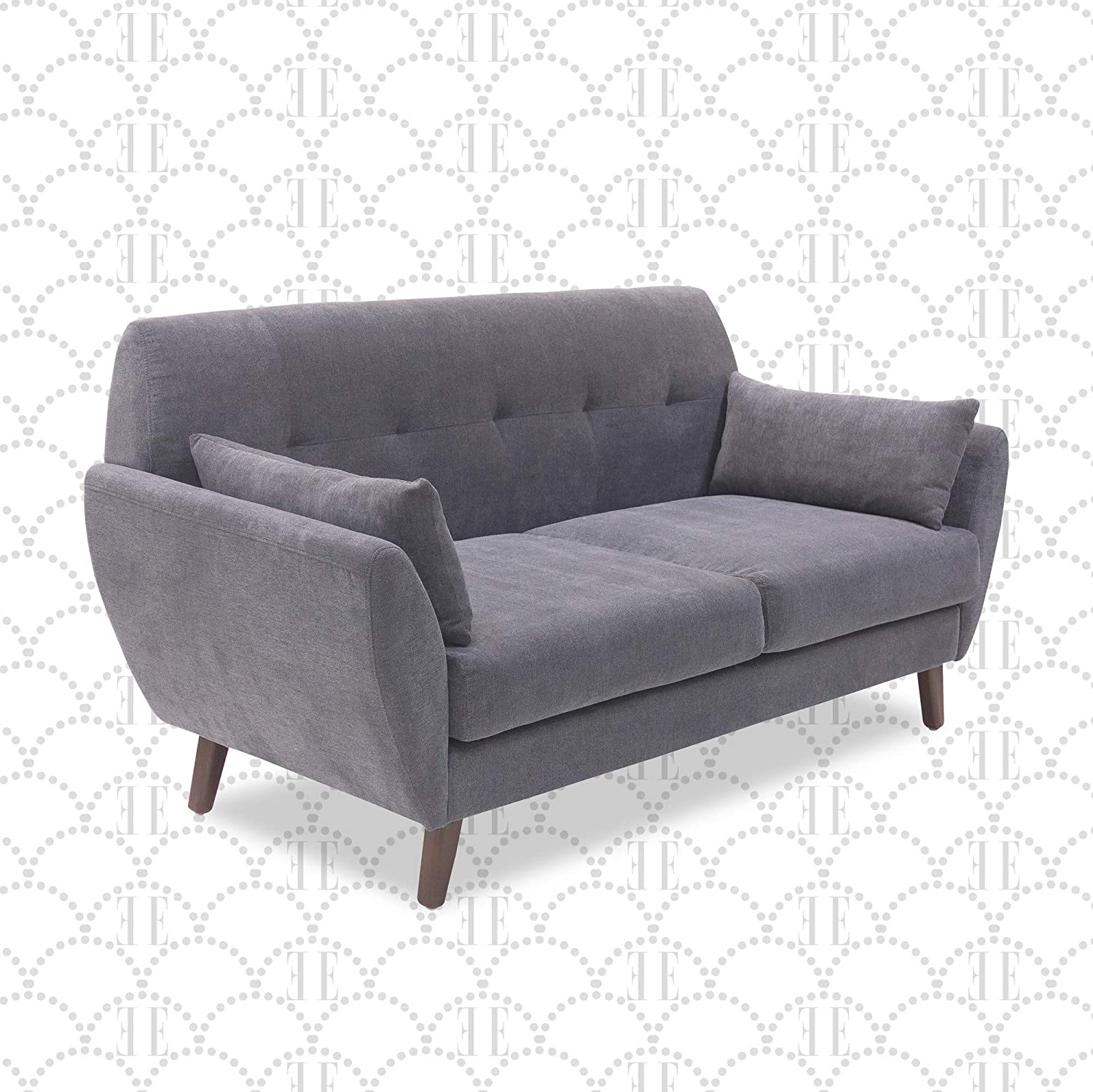Elle Decor Amelie Upholstered Sofa Collection Mid Century Modern Design Couch With Flared Arms Pet Friendly Fabric Upholstery Tool Free Assembly 61 Loveseat Dark Gray Furniture Decor