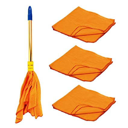 Vimal Duster Dust Mop and High Density Wiping Cloths (A Pack of 3) Combo Set