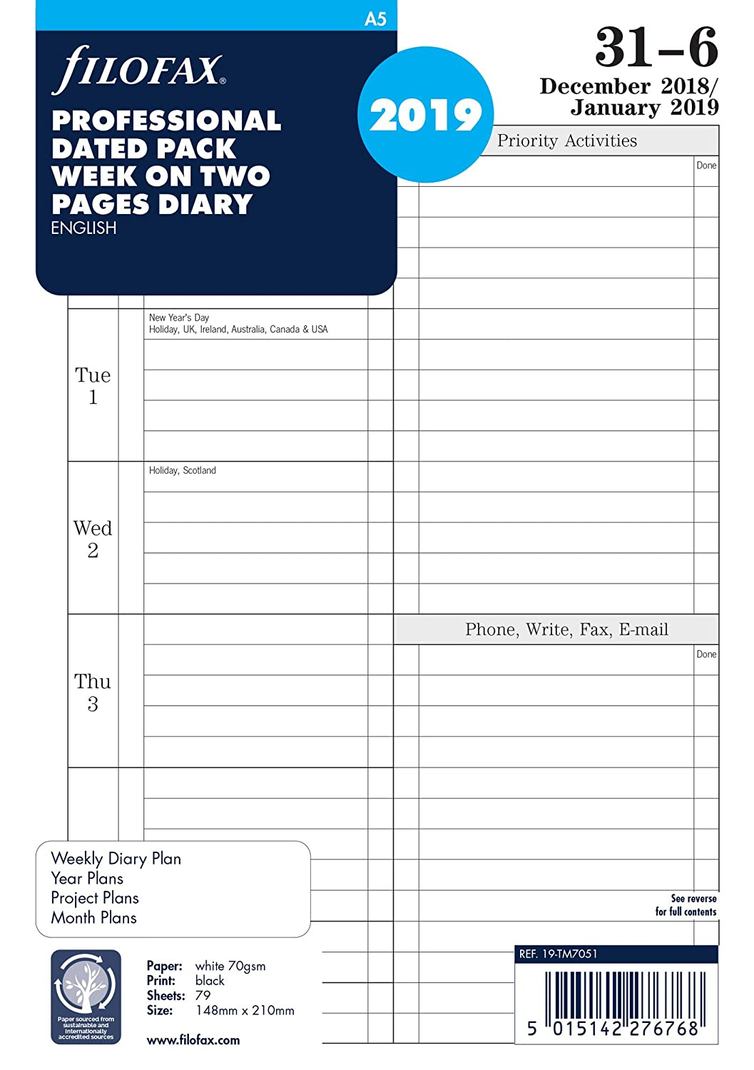 Filofax 19-TM7051 A5 Professional Week to View 2019 Diary