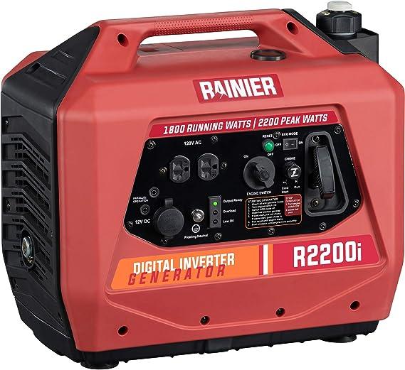 Rainier R2200i Super Quiet Portable Power Station Outdoor Inverter Generator - 1800 Running & 2200 Peak - Gas Powered - CARB Compliant