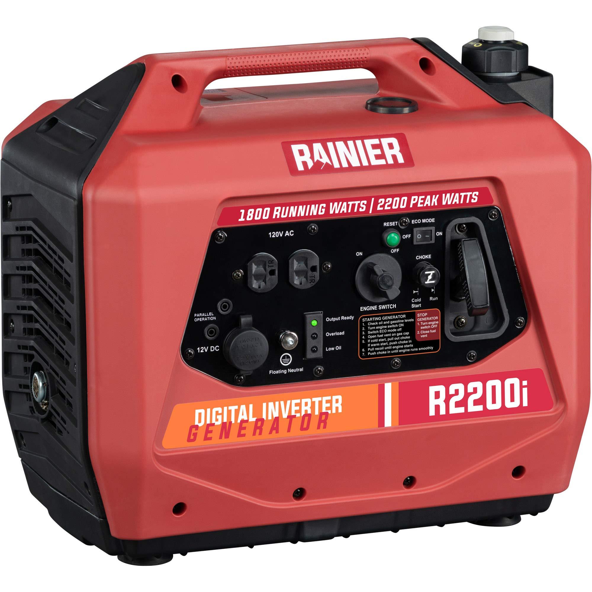 Rainier R2200i Super Quiet Portable Inverter Generator - 1800 Running & 2200 Peak - Gas Powered - CARB Compliant by Rainier Outdoor Power Equipment
