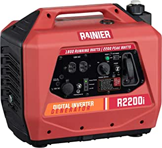 Rainier Outdoor Power Equipment R2200i Super Quiet Portable Inverter Generator 1800 Running & 2200 Peak Watts-Gas Powered-CARB Compliant, R2200i, Red