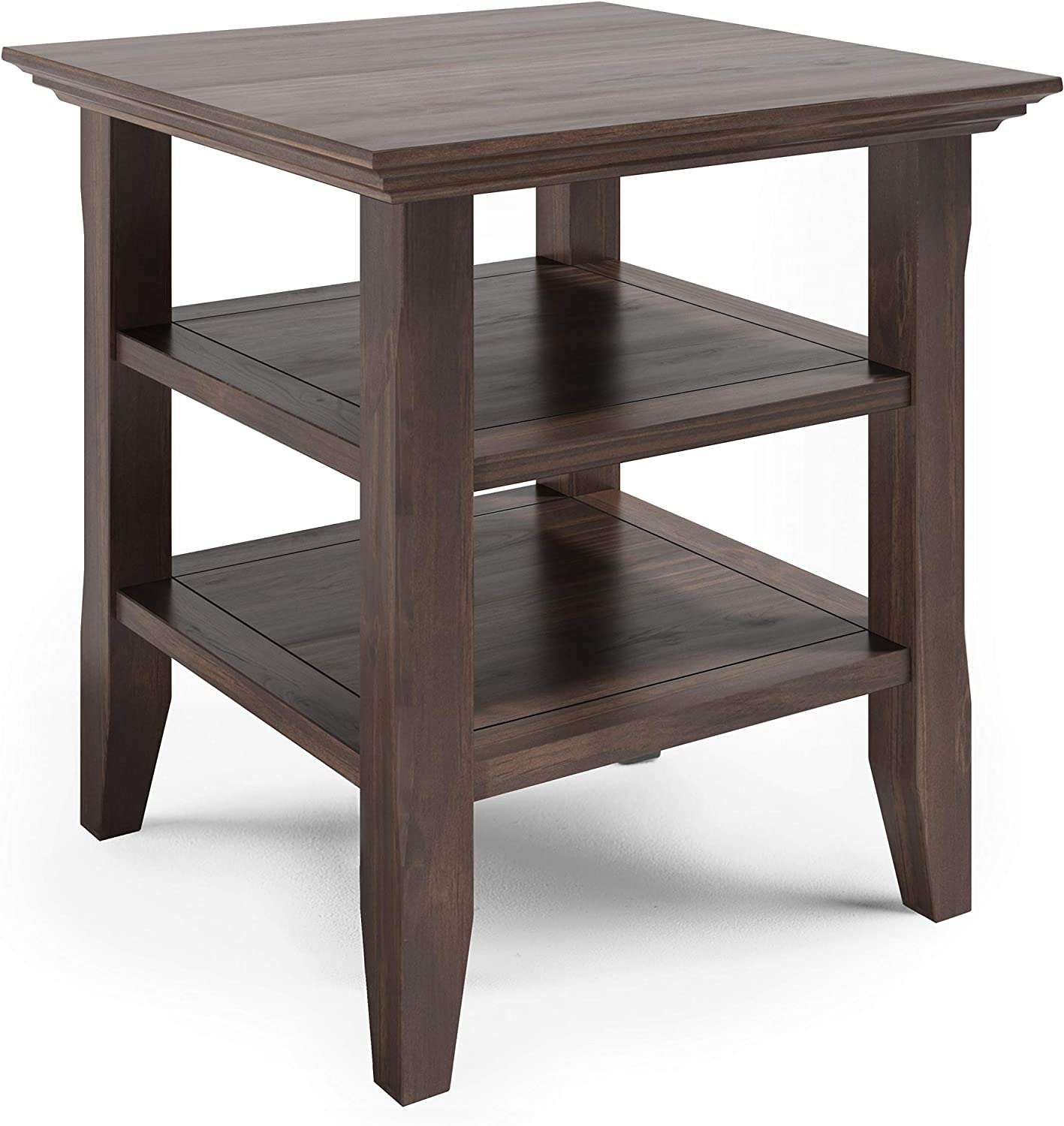 SIMPLIHOME Acadian SOLID WOOD 19 inch Wide Square Rustic End Table in Warm Walnut Brown