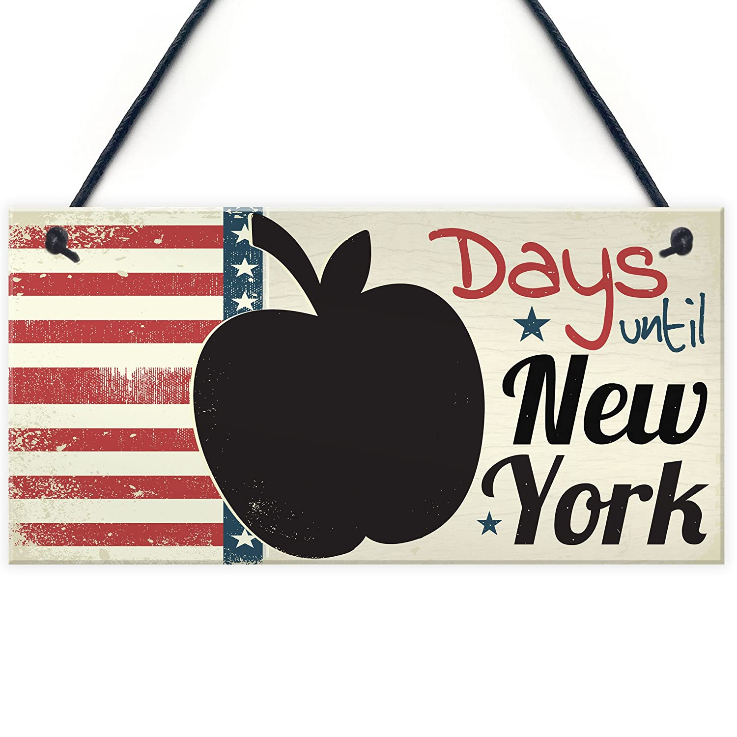 RED OCEAN Countdown Days Until New York Holiday Plaque Apple Chalkboard Sign Best Friend Couple