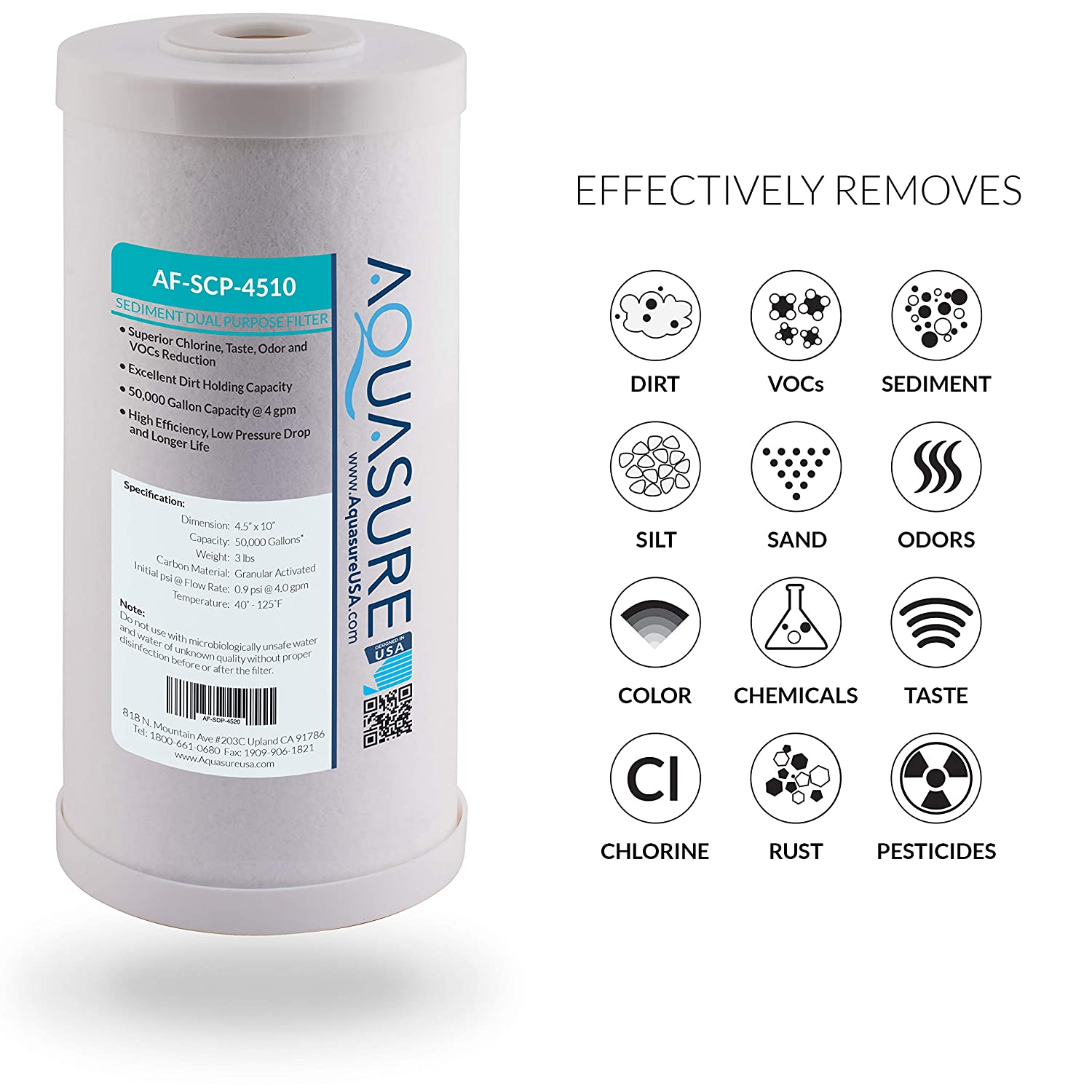 10 x 4.5 GAC Carbon Mesh Whole House Replacement Water Filter Aquasure Fortitude 25 Micron Sediment