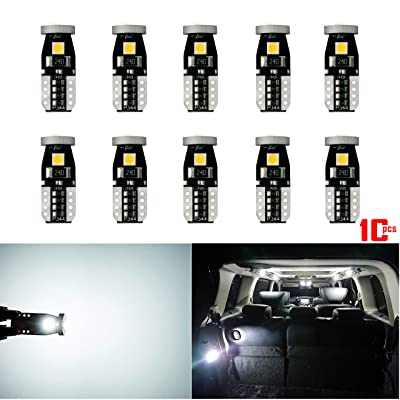 AKKI 10Pcs Extremely Bright 3030 Chipset LED Bulbs for Car Interior Dome Map Door Courtesy License Plate Lights Compact Wedge T10 168 194 2825 W5W 12961 Canbus Error Free Non Polarity, Xenon White: Automotive