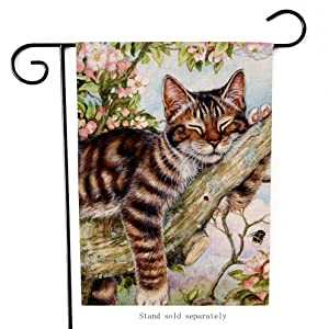 Dyrenson Cat Garden Flag Double Sided Flowers Kitten for Spring, House Yard Flag Flowers, Funny Garden Yard Decorations, Home Decorative Seasonal Outdoor Flag Burlap 12.5 x 18 Summer Gift