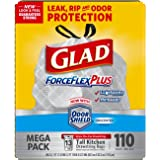 Glad ForceFlexPlus Tall Kitchen Drawstring Trash Bags, Unscented, 13 Gallon, 110 Count (Packaging May Vary)