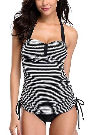 846146ff6ed96 Sociala Womens Halter Striped Tankini Swimsuits Two Piece Bathing Suits M  Black
