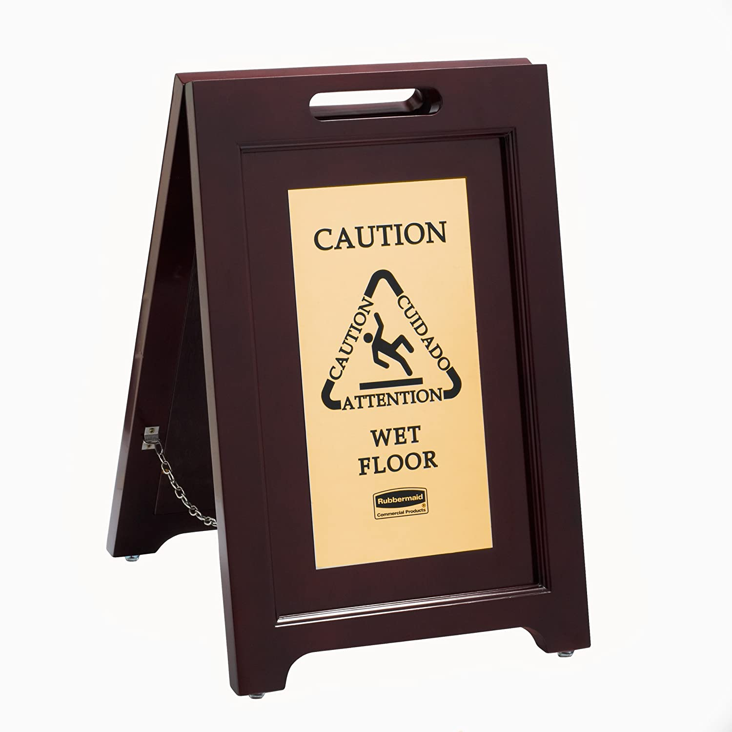 """Rubbermaid Commercial Executive Series 22 Inch Wooden Multilingual """"Caution"""" Safety Wet Floor Sign, 2-Sided, Gold (1867507)"""