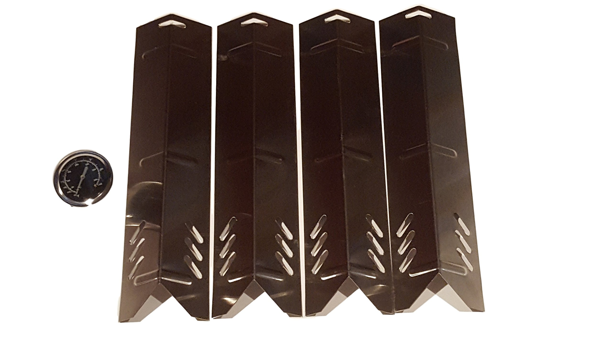 Set of Four Replacement Heat plates (with one free Brinkmann Bbq Temp Gauge) for Uniflame, Better Home and Garden and Backyard Grill Models