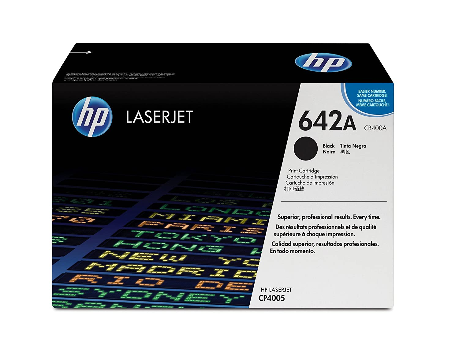 Amazon.com: HP 642A (CB400A) Black Original Toner Cartridge for HP Color  LaserJet CP4005: Office Products