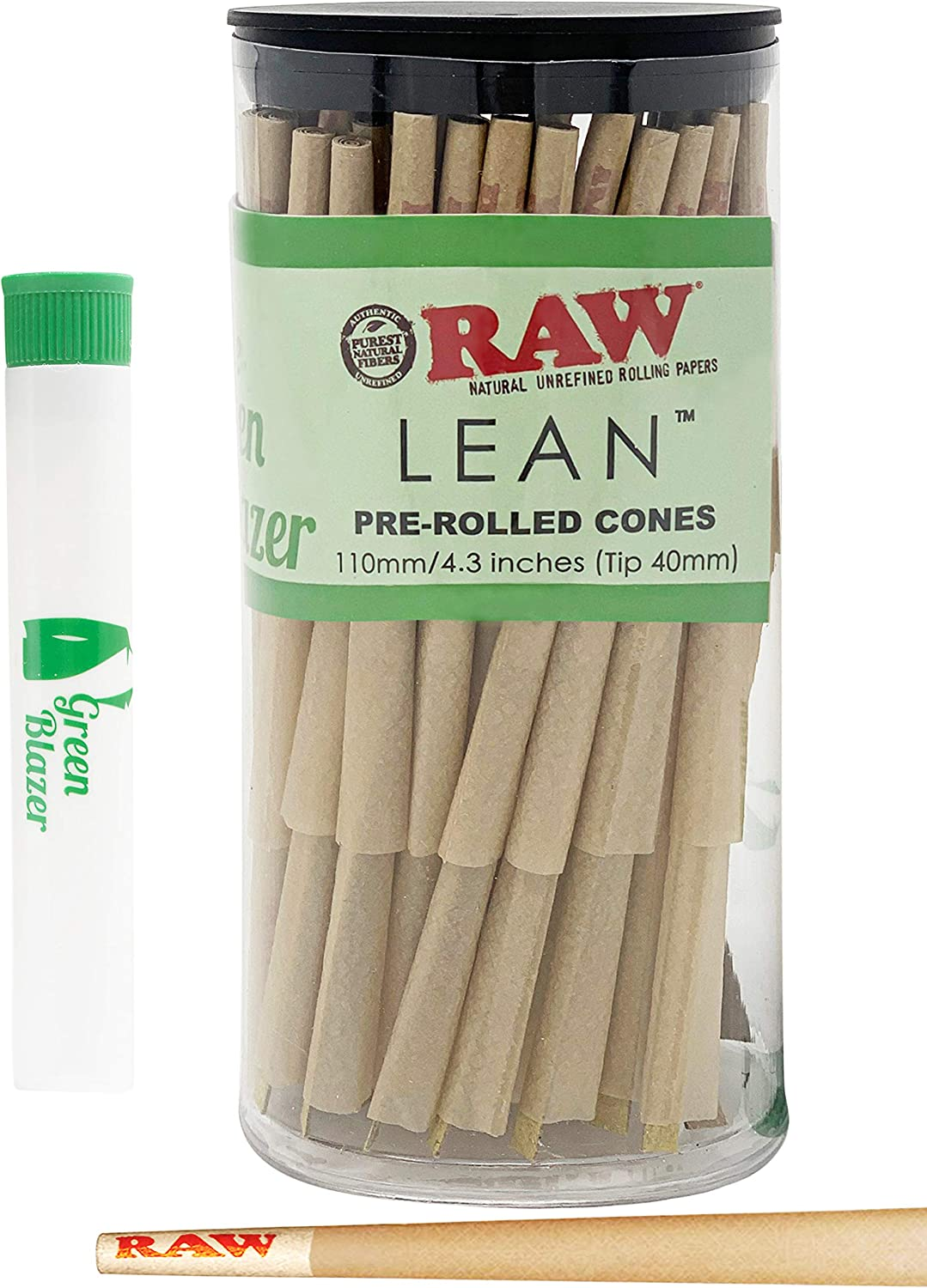 RAW Pre Rolled Cones Lean Size: 100 Pack - Unrefined Classic Rolling Papers with Filter Tips - Includes Green Blazer Doob Tube