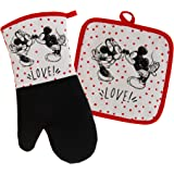 Disney Kitchen Neoprene Oven Mitt and Potholder Set with Hanging Loop -Non-Slip Heat Resistant Kitchen Accessories with Premi