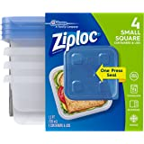 Ziploc Container, Small Square, 4 ct