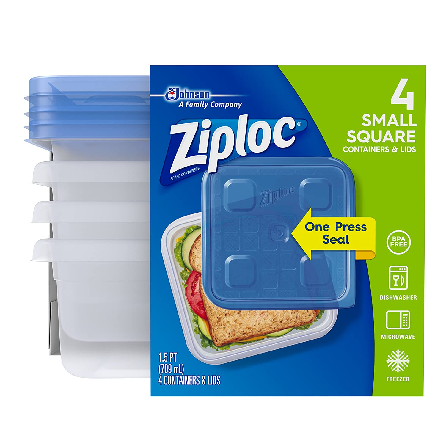 Ziploc Food Storage Container, Microwave and Dishwasher Safe, BPA Free, Small, Square, 4 Count