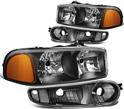 amazon com dna motoring hl oh dan994p bk am 4pcs of headlights bumper lamp for 02 06 gmc sierra yukon automotive amazon com