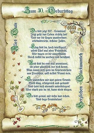 30 Geburtstag Geschenk Urkunde Mit Gedicht Amazon De Kuche Haushalt