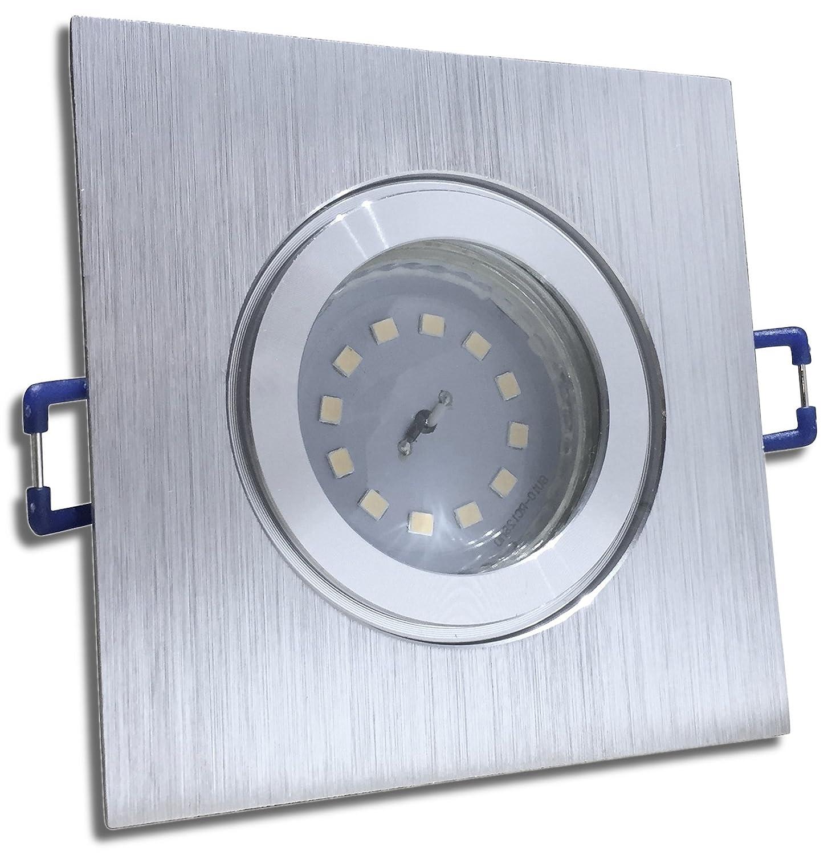 4 Stück IP44 SMD LED Bad Einbauleuchte Aqua 230 Volt 9Watt Eckig BiFarbe Neutralweiß