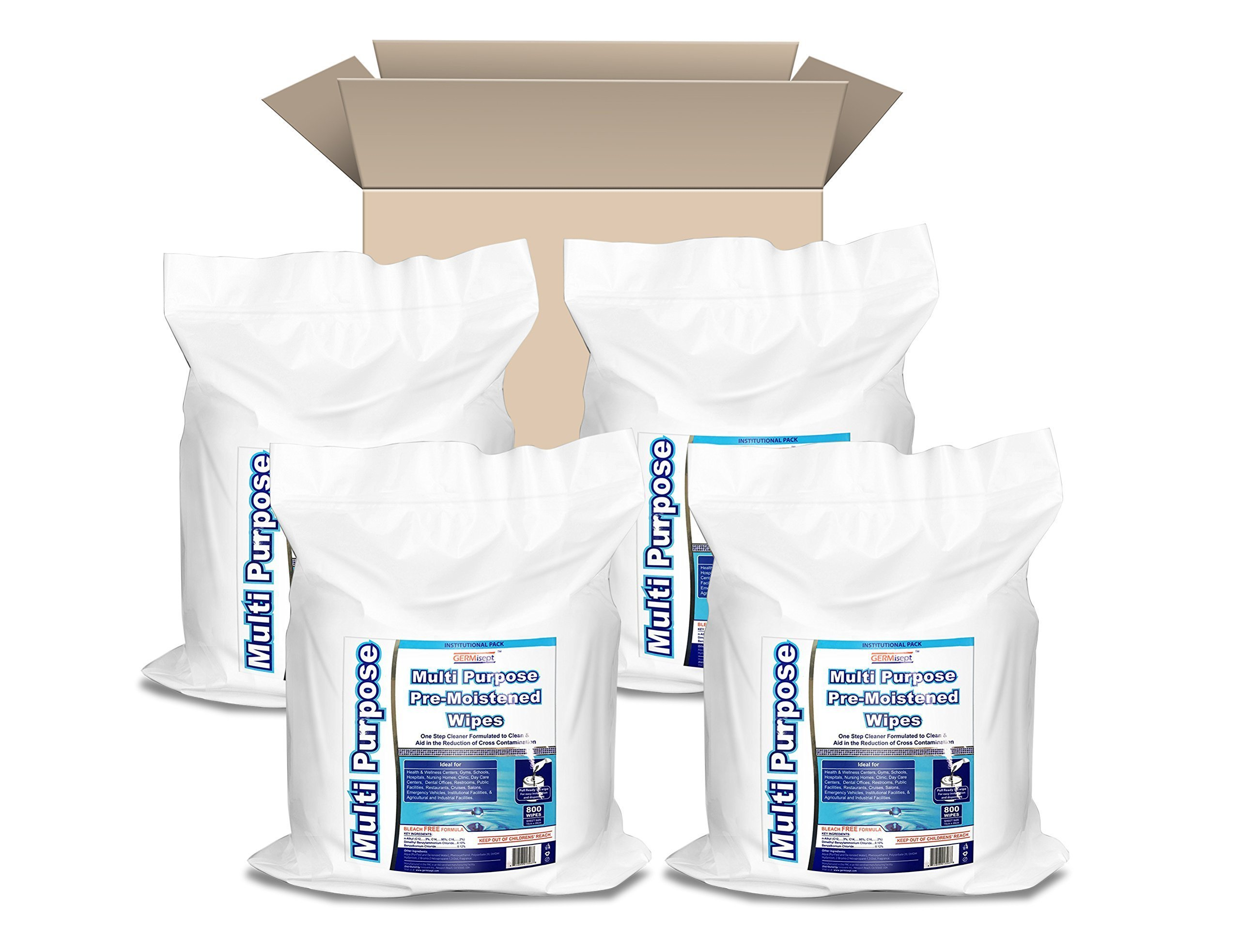 GERMISEPT Multipurpose Gym Wipes & Wellness Center Cleaning Wipes/Cart Wipes (3200 Wipes = 800 Wipes/Roll X 4 Rolls/Case)