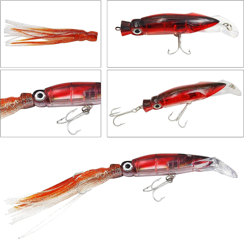 Shaddock Fishing Pulpo Calamar Faldas cebos curric/án Pesca HardBody Artificial Cebo Kits de se/ñuelos de Pesca Crankbaits Bass con Agudos Ganchos de Pesca
