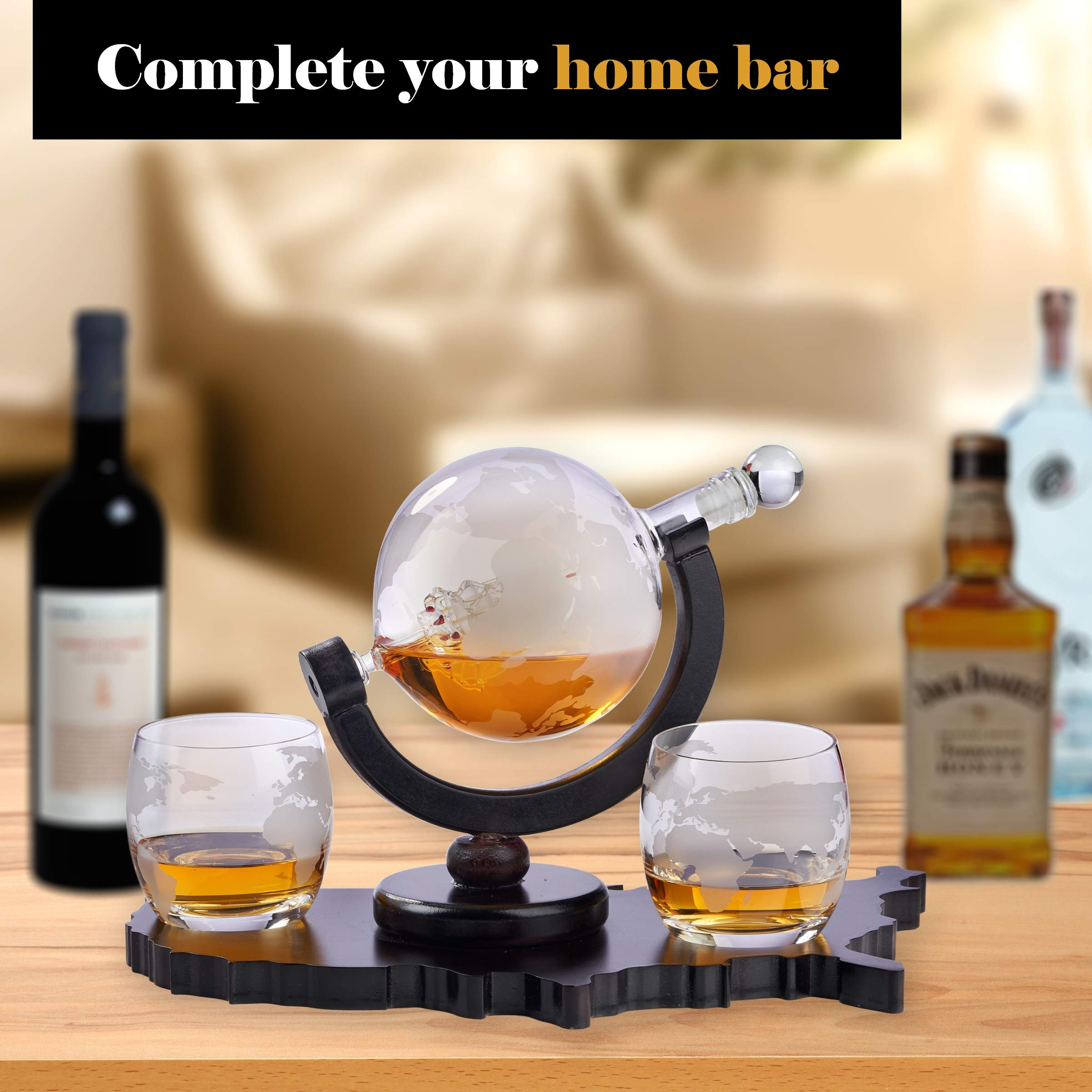 Whiskey Decanter Set World Etched Globe Decanter Airtight Stopper Antique Ship Liquor Dispenser Perfect Bar Gift Bourbon Scotch Vodka Liquor USA Map Tray 850 ml by Bezrat (Image #4)