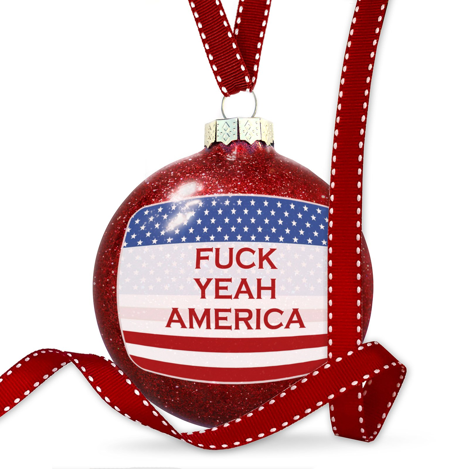 Christmas Decoration Fuck Yeah America Fourth of July Flag Ornament