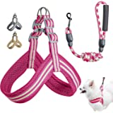 Wealer Dog Harness Leash Set for Small and Medium Dogs Adjustable Soft Training Handle All Weather Mesh Pet Harness(Pink…