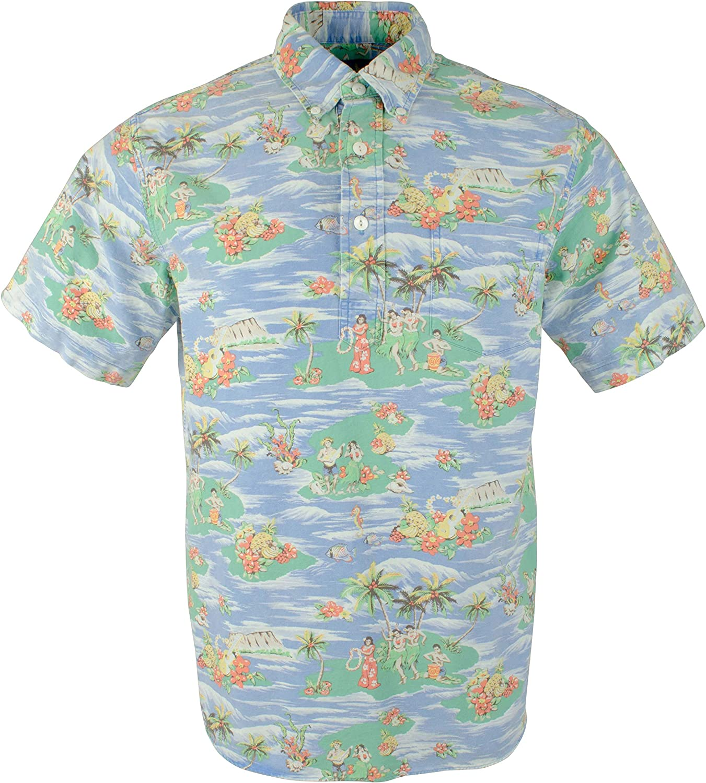 RALPH LAUREN Polo Mens Elongated Placket Hawaiian Scene Polo Shirt Blue 81E2NpZQFyLUL1500_