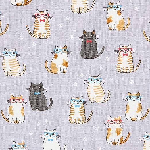 Tela con gatos que llevan gafas anteojos de Cosmo en gris violeta: Amazon.es: Amazon.es