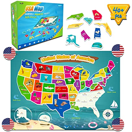Amazon.com: SpriteGru 49 PCS Magnetic USA Map Puzzle Jigsaw Foam ...