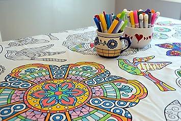 Amazon.com: The Coloring Table - Colorable Mandala Tablecloth - XL ...