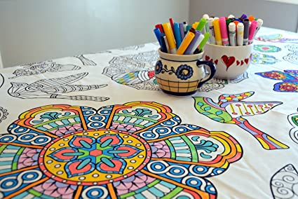 Amazon.com: The Coloring Table Colorable Mandala Tablecloth - XL ...
