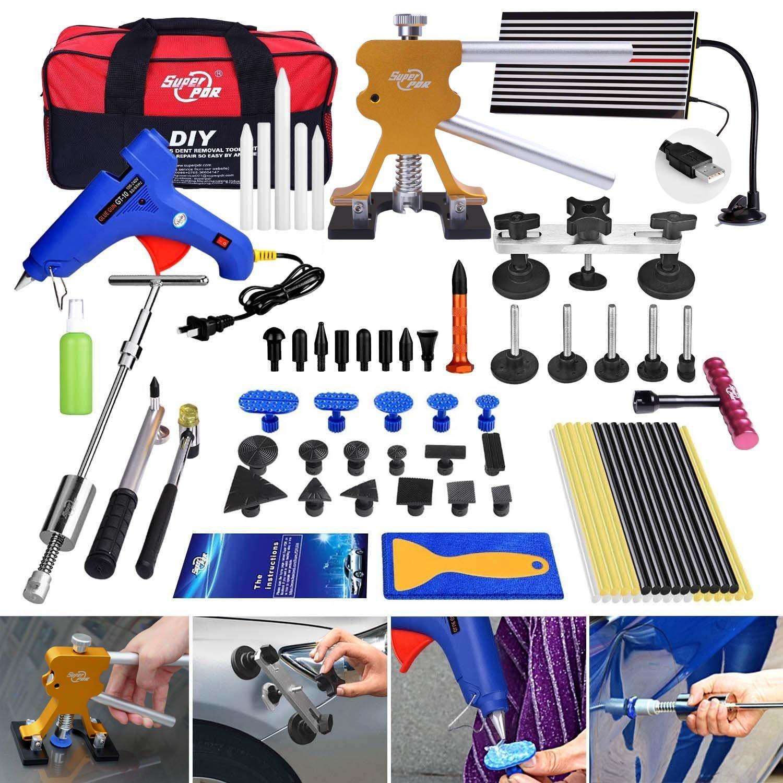 AUTOPDR 78Pcs PDR Tools Pops a Dent Bridge Dent Puller Kit with Hot Melt Glue Gun Glue Sticks for Car Body Paintless Dent Repair