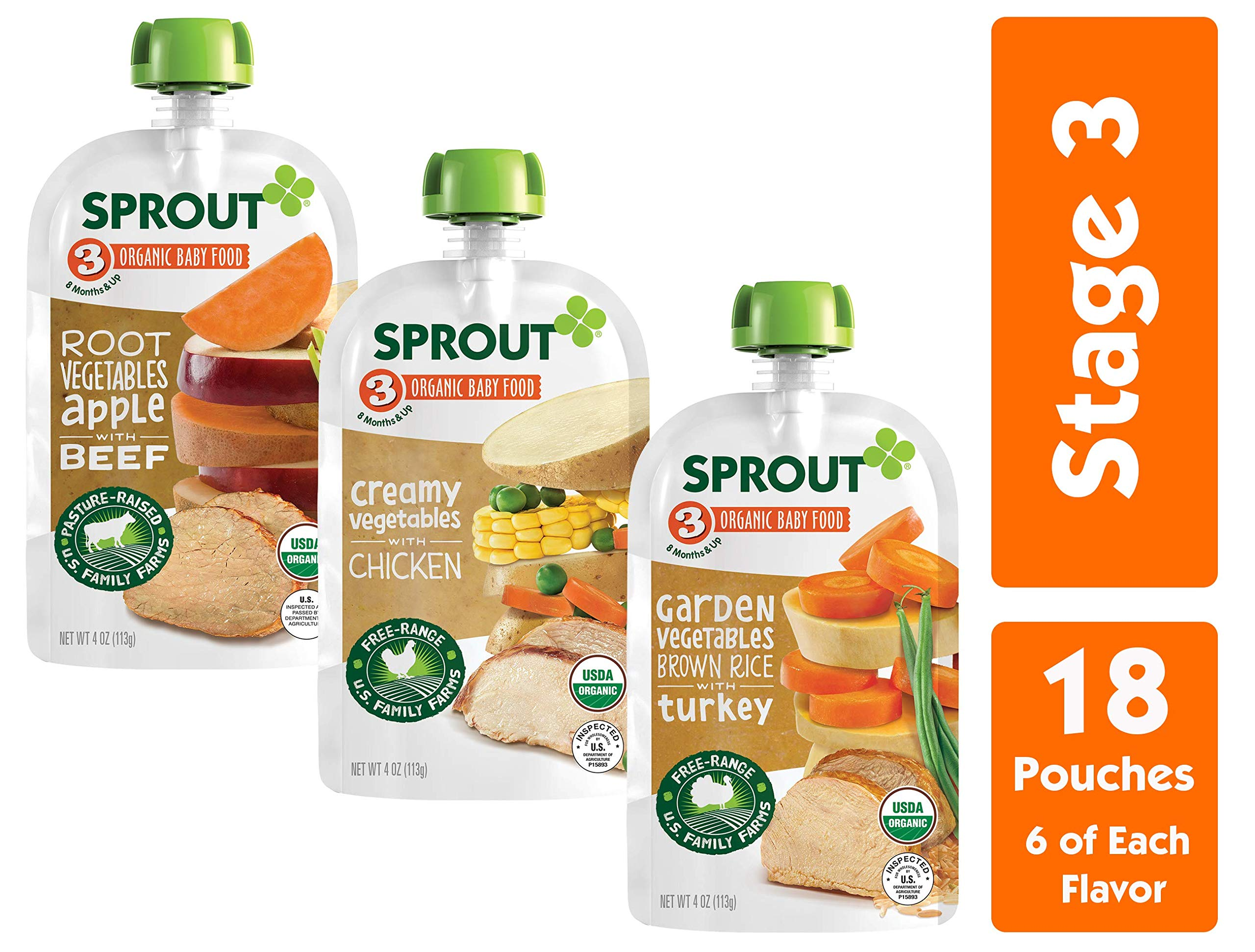Sprout Organic Stage 3 Baby Food Pouches, Meat Variety, 4 Ounce (Pack of 18) 6 of Each: Root Veg Apple w/ Beef, Creamy Veg w/ Chicken & Garden Veg Brown Rice w/ Turkey by Sprout