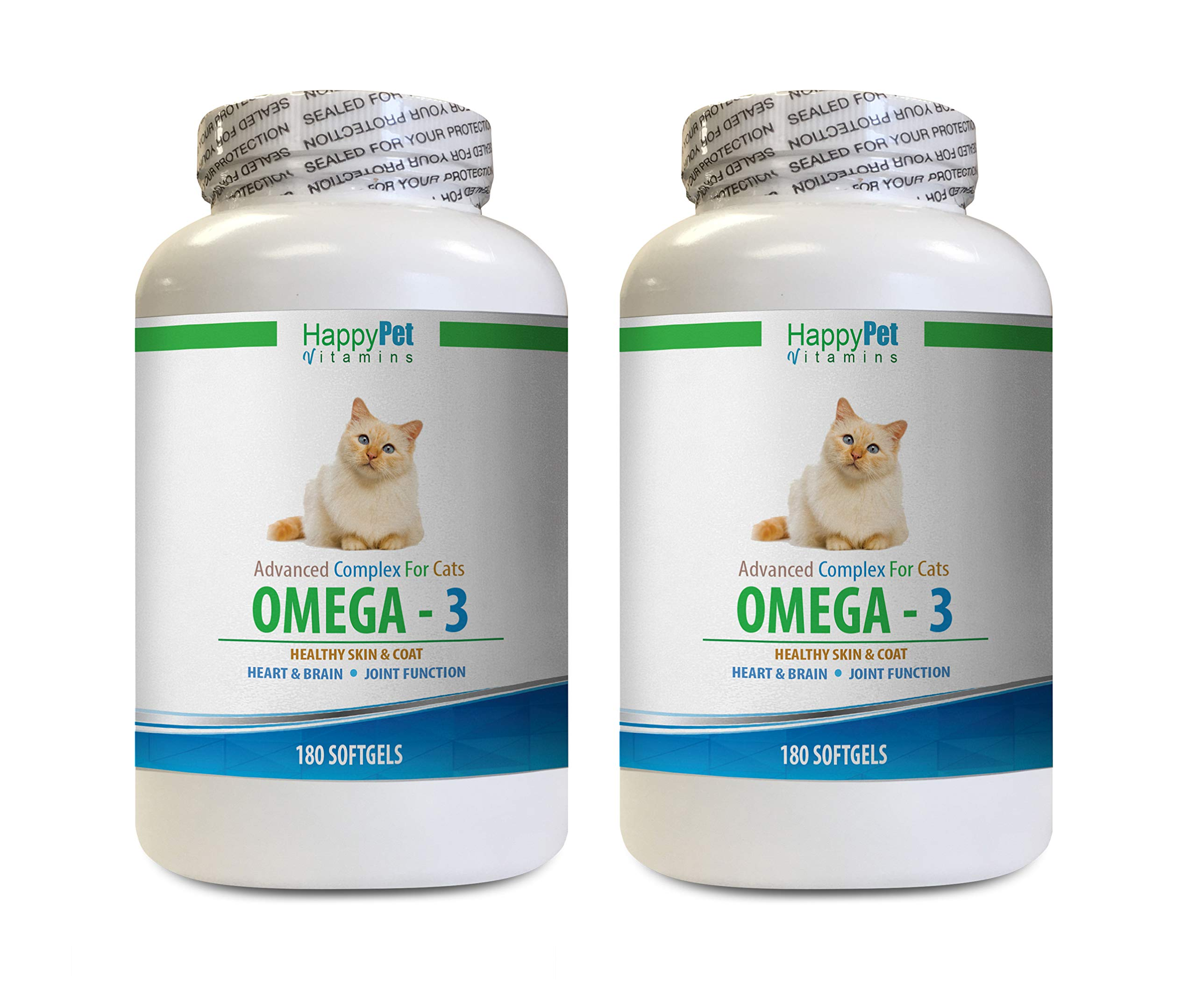 cat Joint Pain - CAT Omega 3 Fatty ACIDS - Essential - Support Cats Health - Omega 3 for Cats - 2 Bottles (360 Softgels) by HAPPY PET VITAMINS LLC