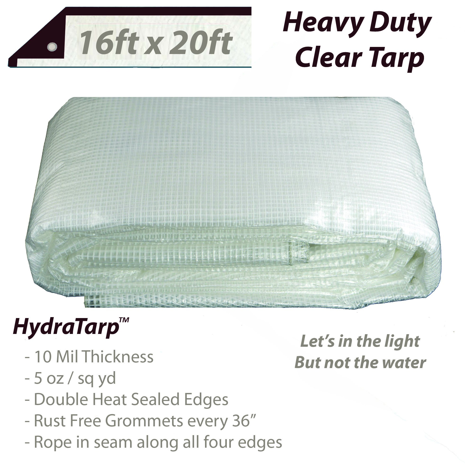Heavy Duty Clear Greenhouse Tarp - 16ft x 20ft - Premium Quality 10 mil with 3x3 Mesh Weave for Added Strength - UV Coated Protection for Outdoor Camping RV Truck and Trailers by Watershed Innovations