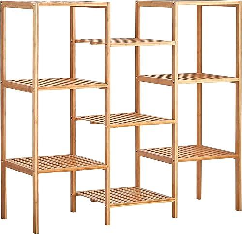 Finnhomy Natural Bamboo Shelf Plant Stand Display Wood Customizable Utility Shelf Bathroom Shelf 9-Tier Multifunctional Storage Rack Shelving Unit