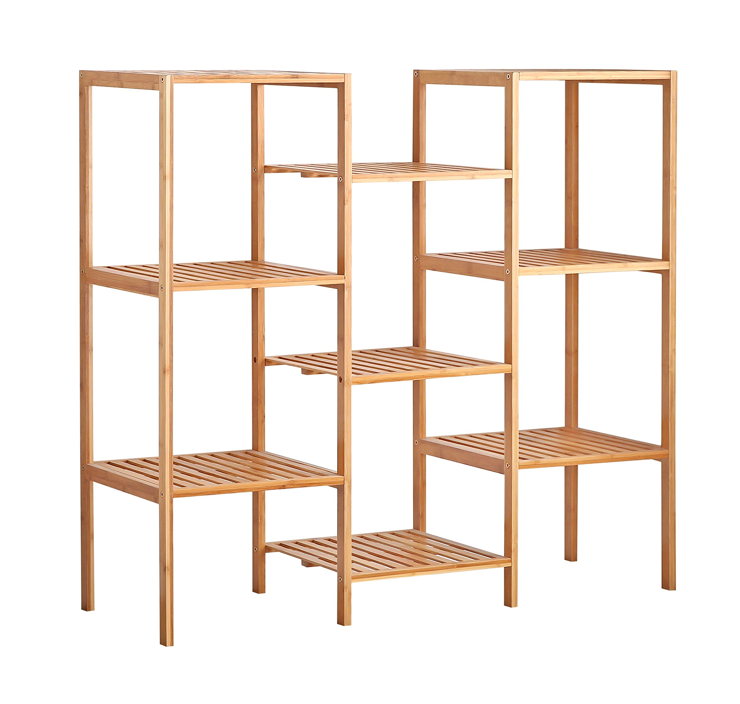 Finnhomy Natural Bamboo Shelf Plant Stand Display Wood Customizable Utility Shelf Bathroom Shelf 9-Tier Multifunctional Storage Rack Shelving Unit